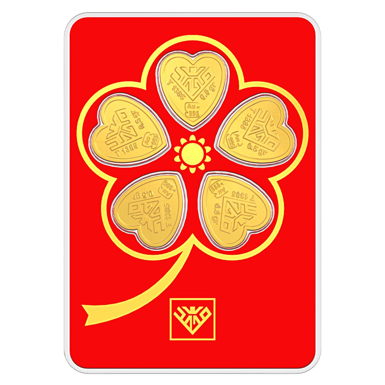 شمش طلا 24 عیار طلای محمد مدل قلب گل 5 پر