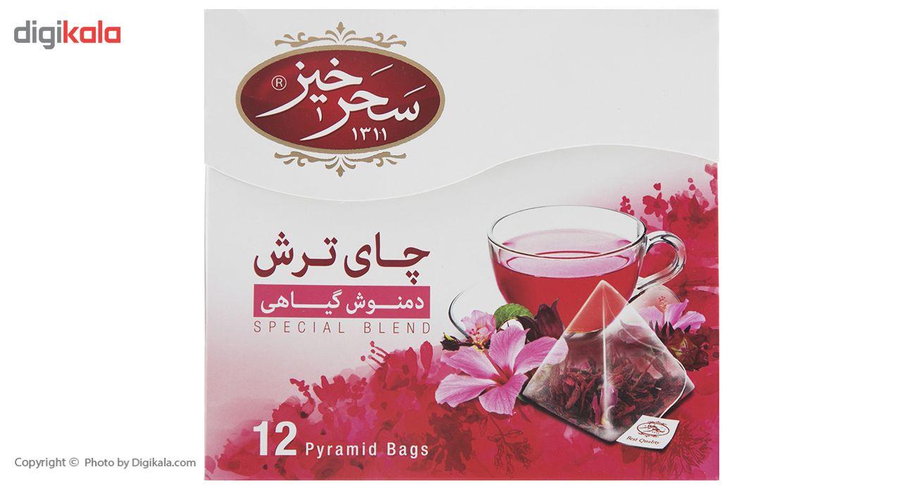 دمنوش کیسه ای هرمی چای ترش سحرحیز بسته 12 عددی main 1 2