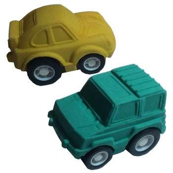 پاک کن کیکرلند سبز و زرد مدل ماشینهای مسابقه بسته 2 تایی