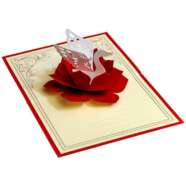 کارت پستال سه بعدی گروه هنری ارژنگ طرح گل و قو کد CR010d