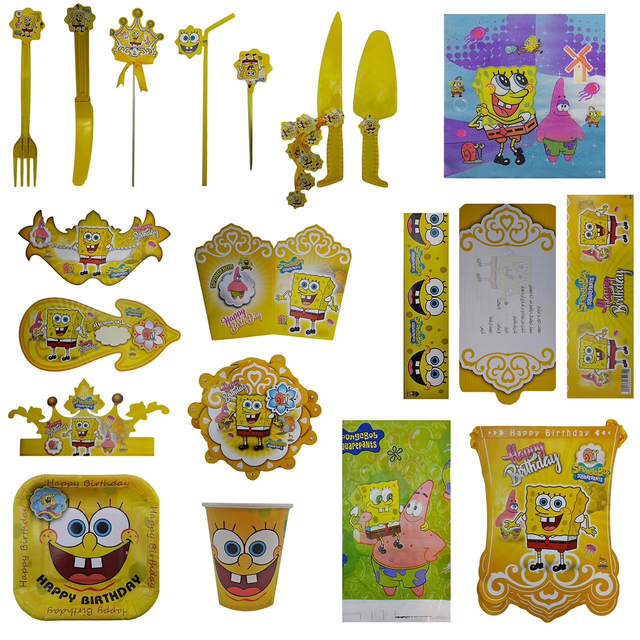 عکس پک جشن تولد گالری زیبا باکس مدل تم  باب اسفنجی Sponge Bob سایز 120