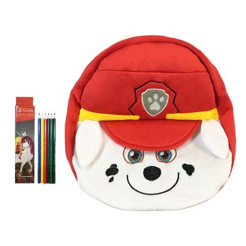 کوله پشتی کودک مدل سگ نگهبان مارشال به همراه مداد رنگی