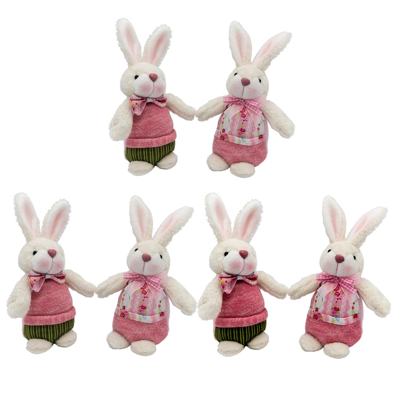 ست عروسک مدل Boy and Girl  Rabbit ارتفاع 20 سانتی متر بسته 6 عددی