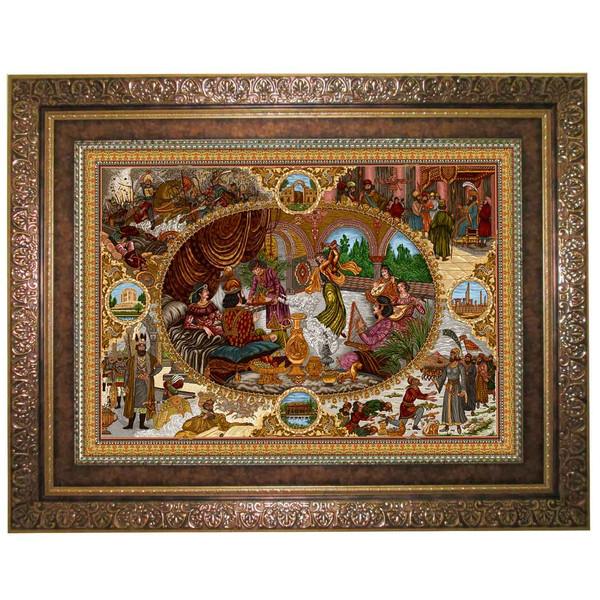 تابلو فرش ماشینی نقش نگار رضوی طرح مهمانی کد 1432C