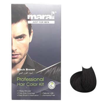 کیت رنگ موی مردانه مارال مدل Black Brown حجم 100 میلی لیتر بسته 2 عددی