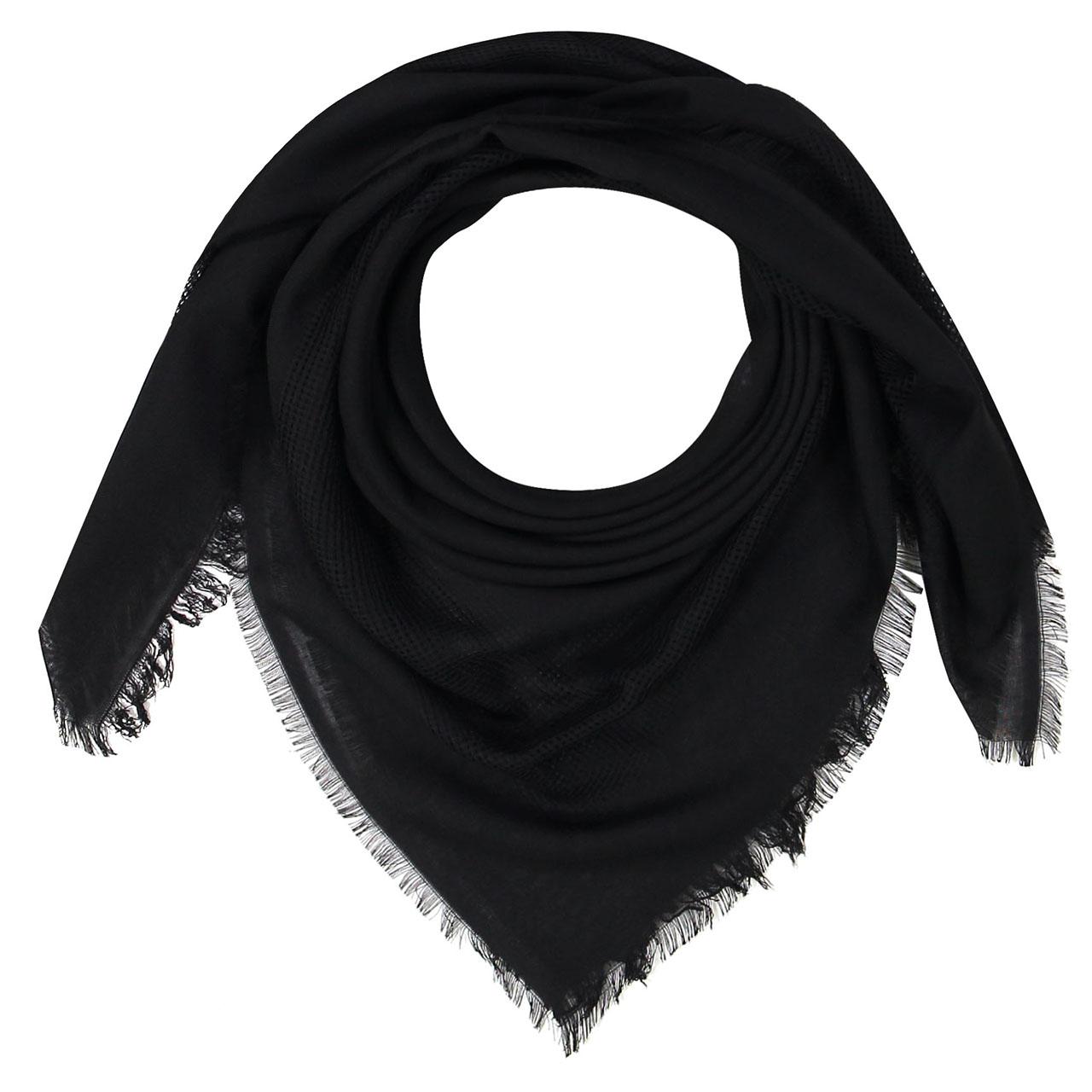 روسری زنانه مشکی طرح حصیری کد 410