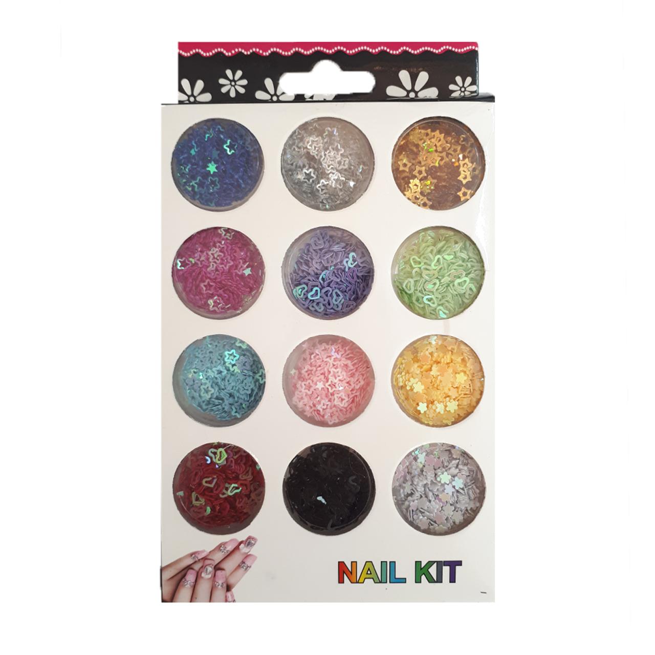 پک تزئین ناخن مدل Nail Kit مجموعه 12 عددی