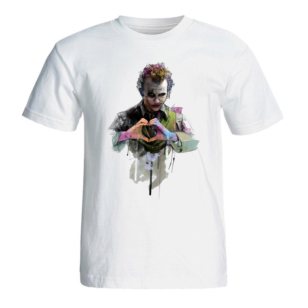 تی شرت آستین کوتاه سفید سالامین طرح  هیث لجر کد SA120