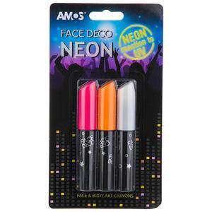 پاستل گریم صورت آموس مدل Face Deco Neon بسته 3 رنگ