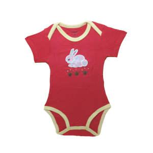 لباس زیر دکمه دار آستین کوتاه دخترانه کارترز مدل red rabbit