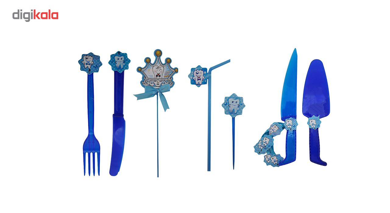 پک جشن تولد گالری زیبا باکس مدل تم دندونی آبی سایز 120