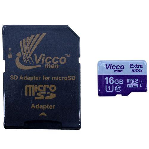 کارت حافظه microSDHC ویکو من مدل Extre 533X کلاس 10 استاندارد UHS-I U1 سرعت 80MBps ظرفیت 16 گیگابایت همراه با آداپتور SD