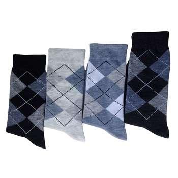 جوراب مردانه طرح اسکاچ بسته 4 عددی