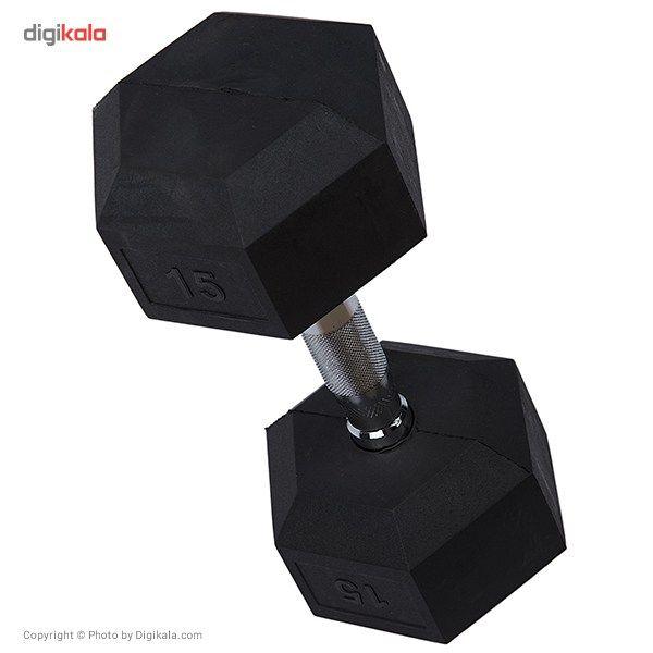 دمبل بدنسازی ششضلعی  15 کیلوگرمی - دو عددی main 1 2