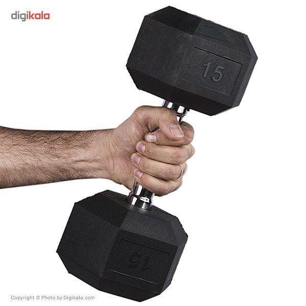 دمبل بدنسازی ششضلعی  15 کیلوگرمی - دو عددی main 1 3