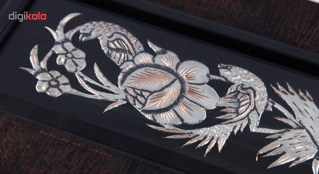 تابلو قلم زنی طرح گل و مرغ اثر روزدار کد 306053