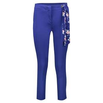 شلوار شالدار پارچه ای زنانه راسته فیت رنگ آبی کاربنی مدل 237