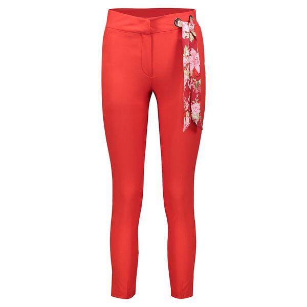 شلوار شالدار پارچه ای زنانه راسته فیت رنگ قرمز مدل 237