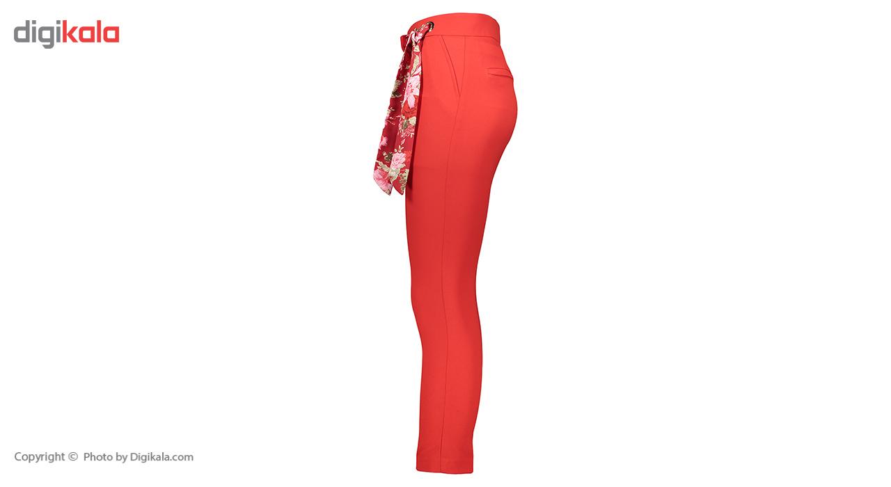 شلوار شالدار پارچه ای نه راسته فیت رنگ قرمز مدل 237