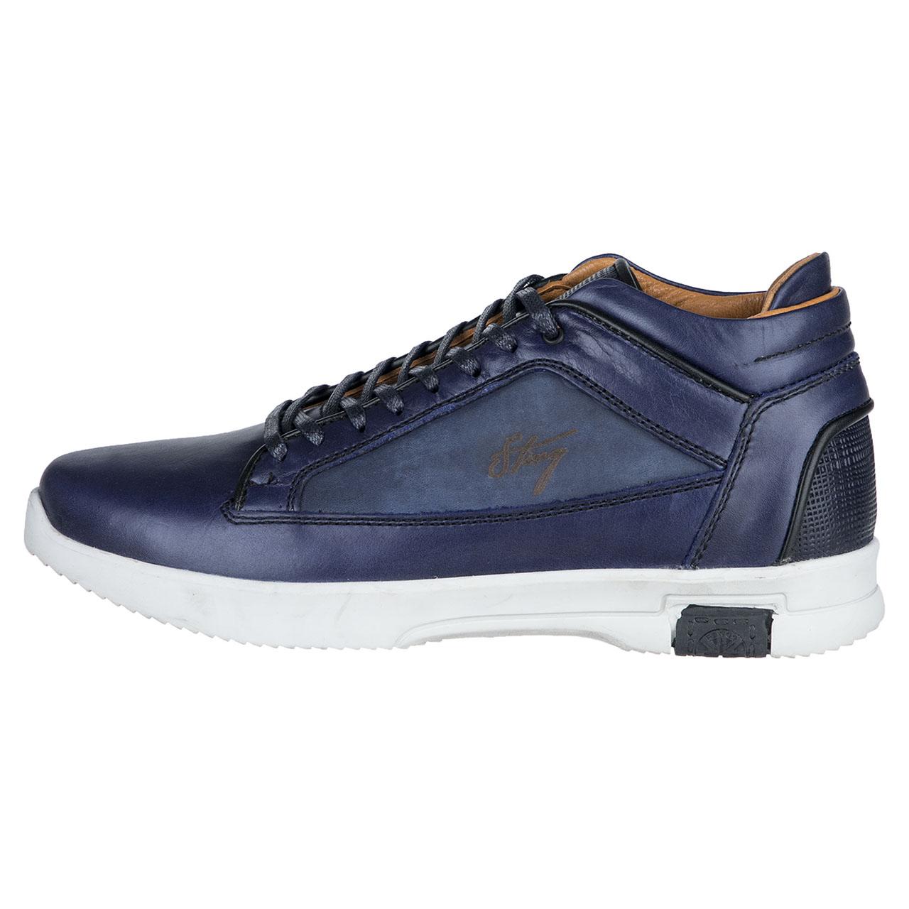 کفش مردانه چرم طبیعی استینگ مدل P4 سرمه ای