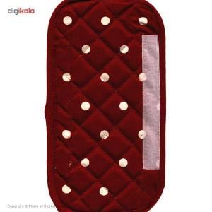 دستگیره یخچال کتان 20 × 15 رزین تاژ طرح خالدار قرمز