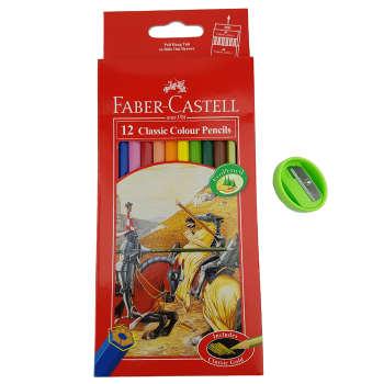 مداد رنگی 12 رنگ فابرکاستل مدل Classic به همراه تراش