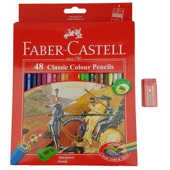 مداد رنگی 48 رنگ فابرکاستل مدل Classic به همراه پاک کن