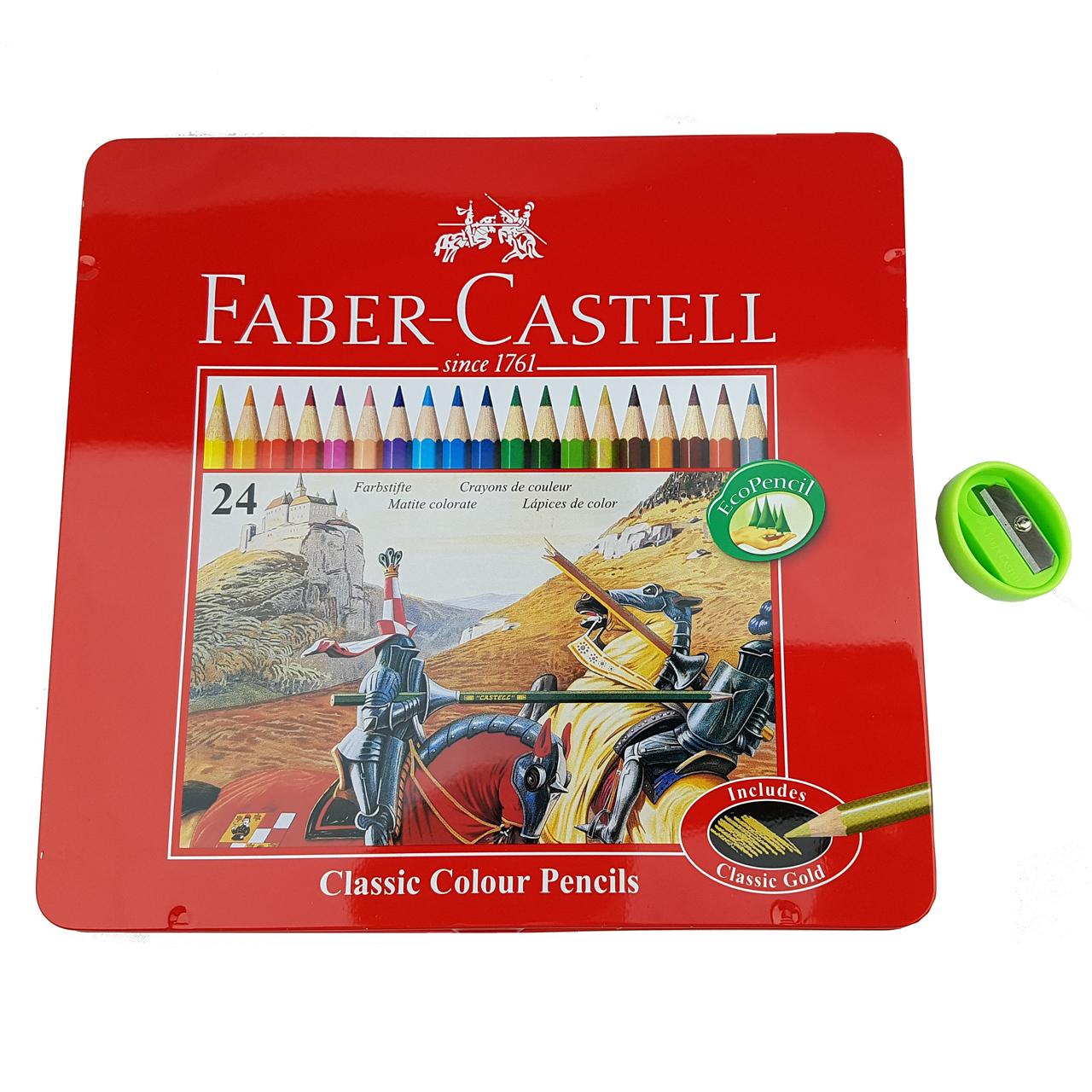مداد رنگی 24 رنگ فابرکاستل مدل Classic همراه با تراش
