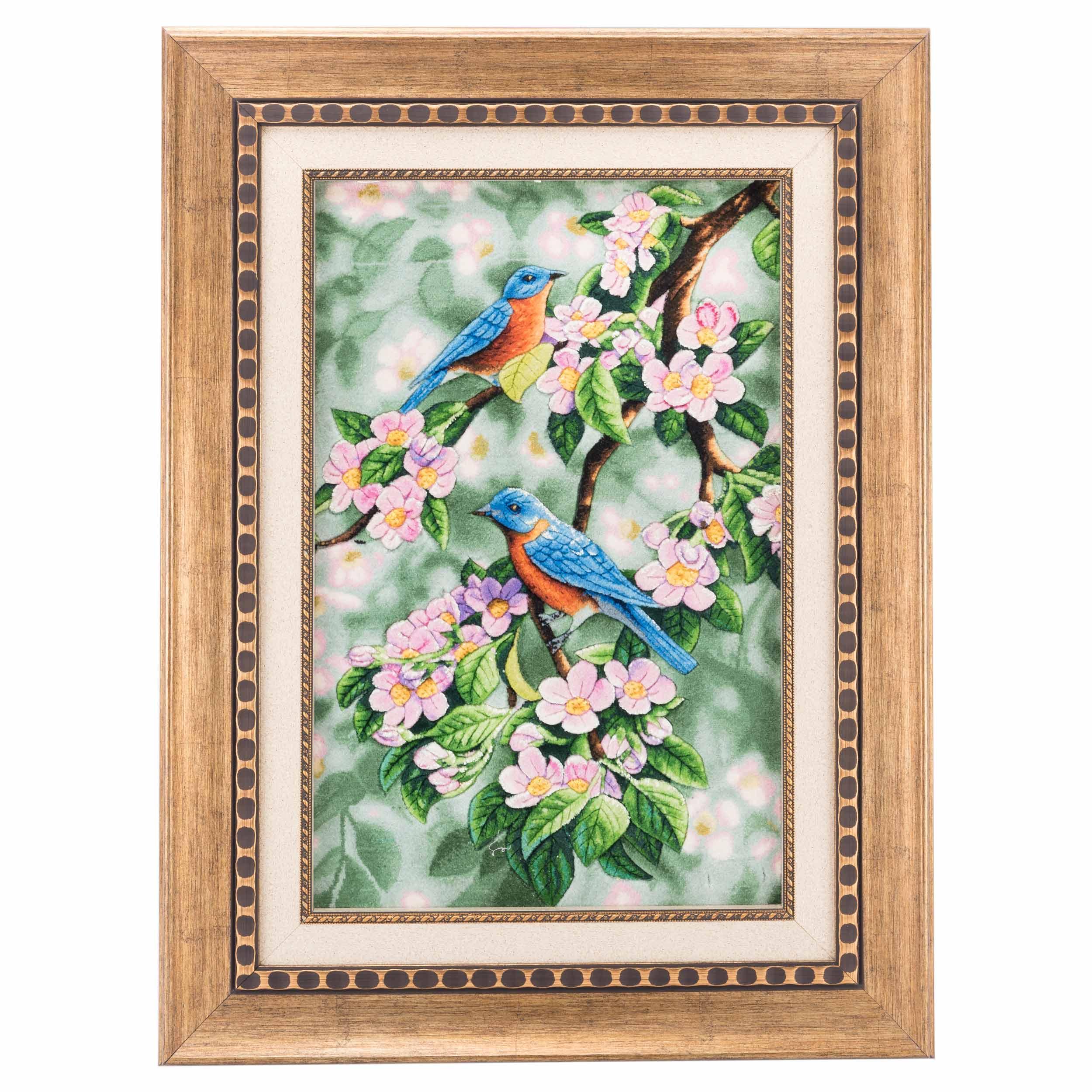 تابلو فرش دستباف پرنده شکوفه سی پرشیا کد 901356