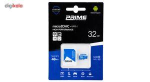 کارت حافظه microSDHC پرایم کلاس 10 استاندارد UHS-I U1 سرعت 48MBps همراه با آداپتور SD ظرفیت 32 گیگ