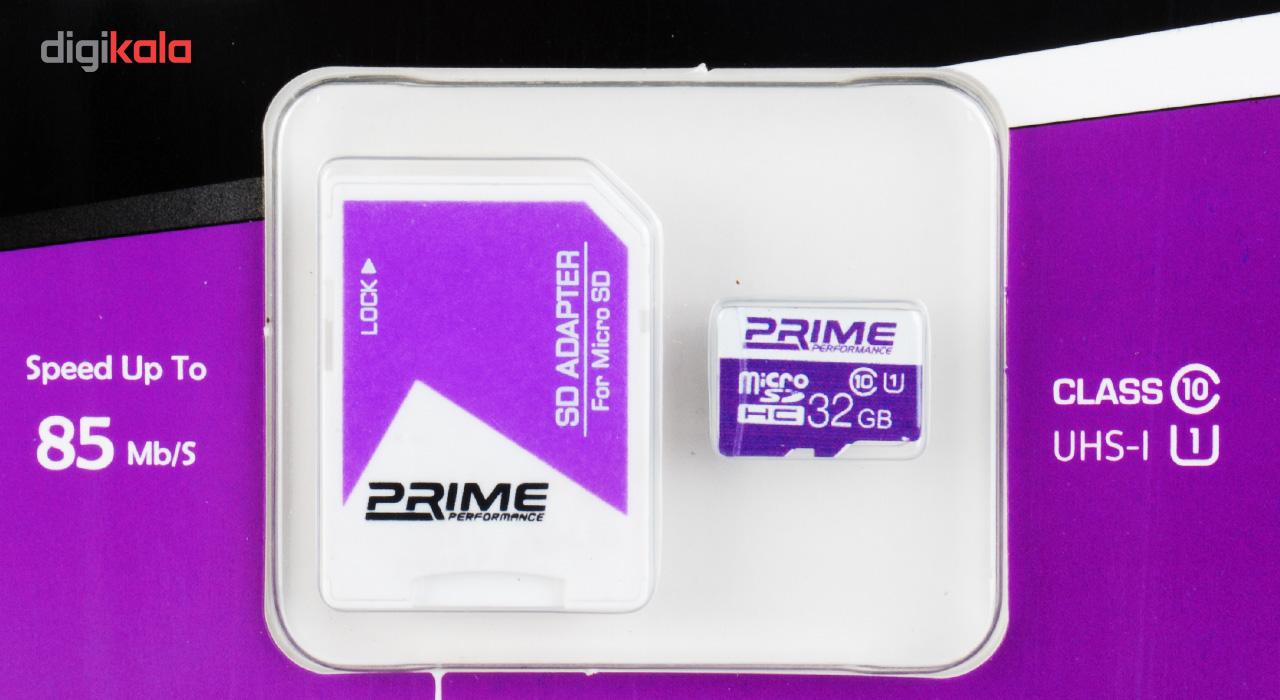 کارت حافظه microSDHC پرایم کلاس 10 استاندارد UHS-I U1 سرعت 85MBps همراه با آداپتور SD ظرفیت 32 گیگابایت main 1 2