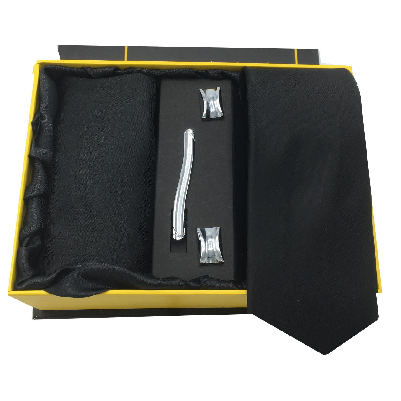 ست کراوات، گیره، دستمال و دکمه سردست هکس ایران مدل AF-FUL SET-BLK