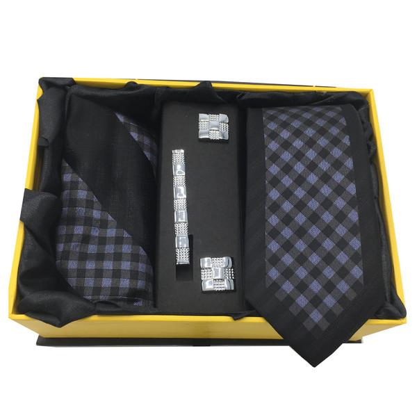 ست کراوات، گیره، دستمال و دکمه سردست هکس ایران مدل AF-FUL SET-BLK3
