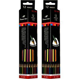 مداد مشکی ای اف اسکول مکس مدل 3001 - 2 بسته 12 عددی