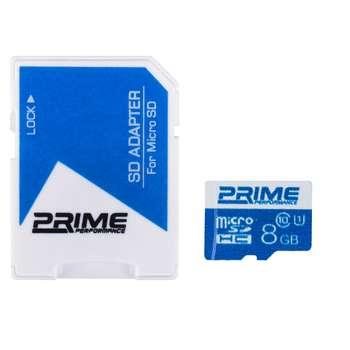 کارت حافظه microSDHC پرایم کلاس 10 استاندارد UHS-I U1 سرعت 48MBps همراه با آداپتور SD ظرفیت 8 گیگابایت