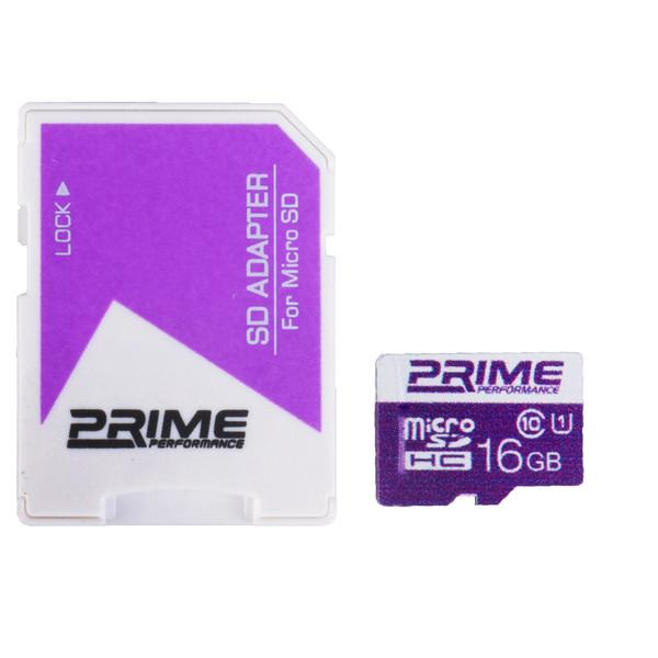 کارت حافظه microSDHC پرایم کلاس 10 استاندارد UHS-I U1 سرعت 85MBps همراه با آداپتور SD ظرفیت 16 گیگابایت