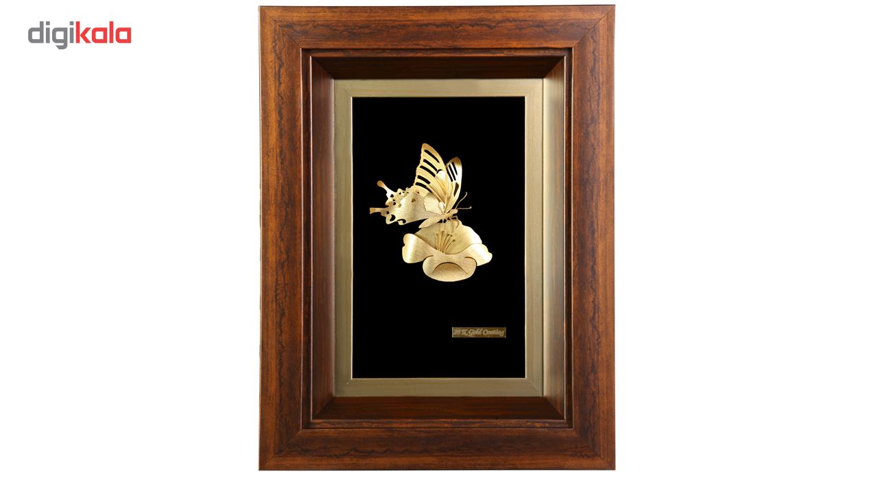 خرید                      تابلو طلا مدل گل و پروانه کد 0009