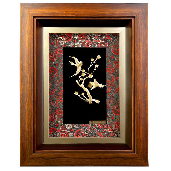 تابلو طلا مدل درخت و پرنده دور ترمه کد 00017