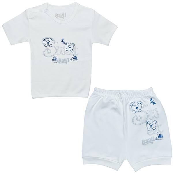 ست تی شرت و شلوارک نوزادی باولی مدل خرس و قایق