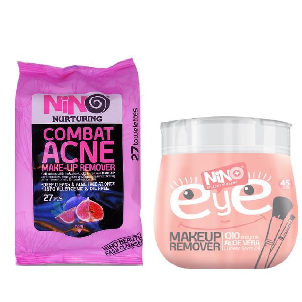 دستمال مرطوب پاک کننده آرایش نینو بسته 27 عددی به همراه دستمال مرطوب پاک کننده آرایش مدل EYE بسته 45 عددی