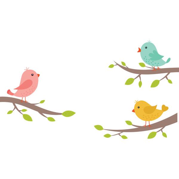 استیکر دیواری سالسو طرح پرنده های خوشبختی m.z