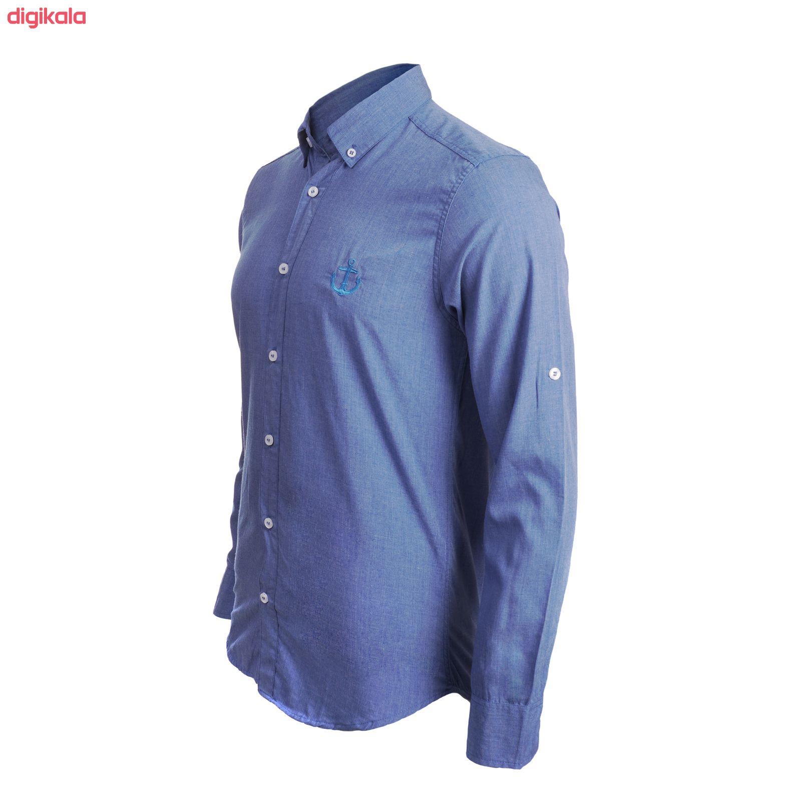 پیراهن آستین بلند مردانه ناوالس مدل MLANZH-BL main 1 4