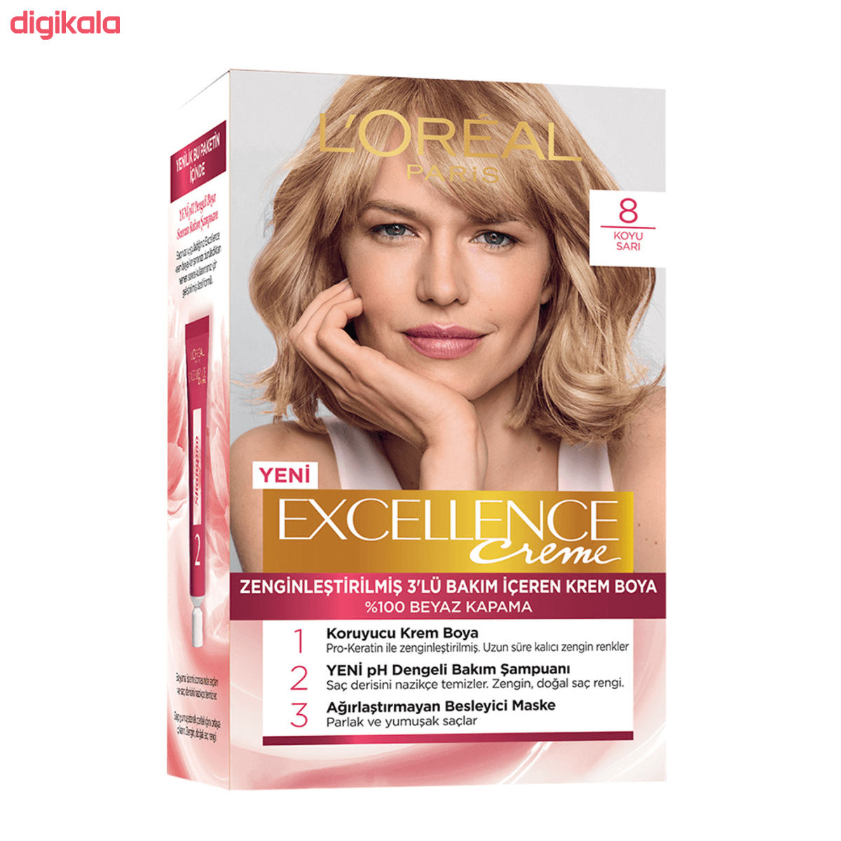 کیت رنگ مو لورآل مدل Excellence شماره 8 حجم 48 میلی لیتر رنگ بلوند متوسط main 1 1