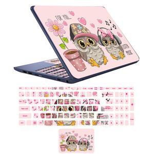 استیکر لپ تاپ مدل OWL-02 مناسب برای لپ تاپ 17 اینچ به همراه برچسب حروف فارسی کیبورد