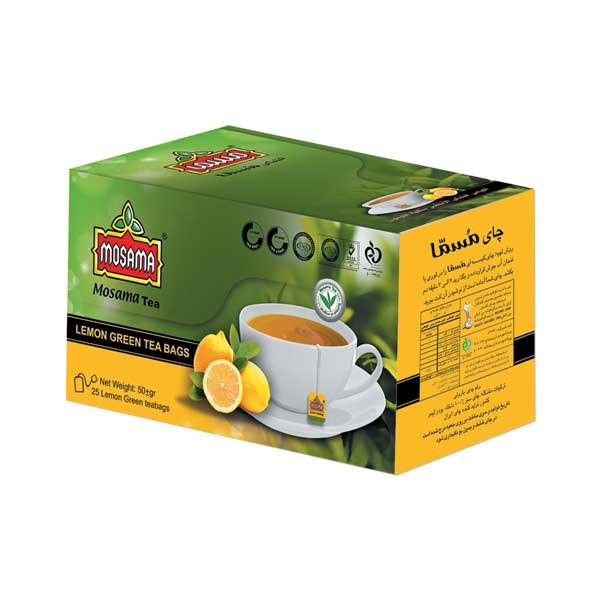 چای سبز کیسه ای با طعم لیمو مسما بسته 25 عددی