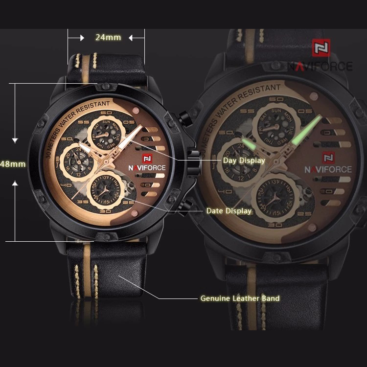 ساعت مچی عقربهای مردانه نیوی فورس مدل NF9110 BRGBN              اصل