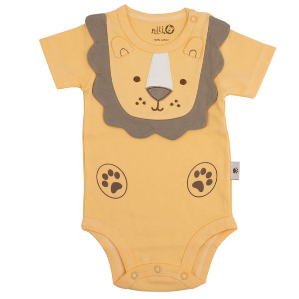 بادی آستین کوتاه نوزادیپسرانه نیلی مدل Lion098