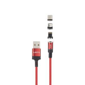 کابل تبدیل USB به لایتنینگ/USB-C/microUSB لیتو مدل LD-23 طول 1 متر
