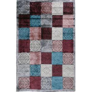فرش ماشینی دنیز طرح شنل کد 3077 زمینه نقرهای