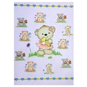 فرش ماشینی دکوفان کد J07 طرح کودک مدل خرس دختر